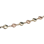 14k Yellow and Rose Gold Puffed Heart Bracelet
