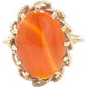 Agate Cabochon 14k Gold Ring