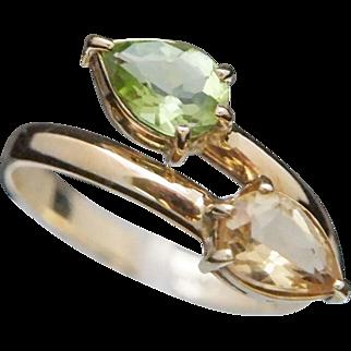 14k Peridot Citrine Ring