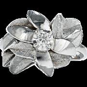 Falling leaves. Retro 14k/Diamond Ring
