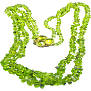 Going green. Peridot/14kt Gold Necklace