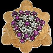 Look what's in bloom. 14k Ruby Diamond Ring