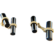 Black tie. 14k Gold Onyx Cuff Links