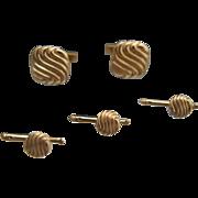 Wave patterns. TIFFANY 14k Cuff Links, Studs