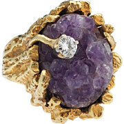 Diamond, in the rough. 18k Raw Amethyst Diamond Ring