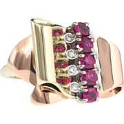 Back, better than ever. 14k Rose Gold Ruby Diamond Ring