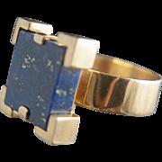 Egypt via Denmark. 14k Lapis Lazuli Ring by Jens Asby
