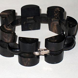 Vintage Horn Link Bracelet Sterling Silver Clasp