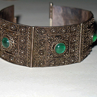 1930s Tribal 900 Silver Panel Bracelet Green Glass Stones