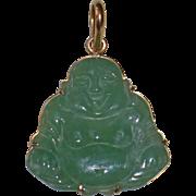 18K Yellow Gold Mounted Large Carved Jade Buddha