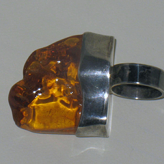 Amber and Sterling Silver Ring