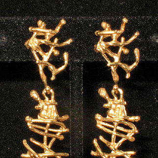 14k Yellow Gold Vintage Modern Brutalist Dangle Earrings