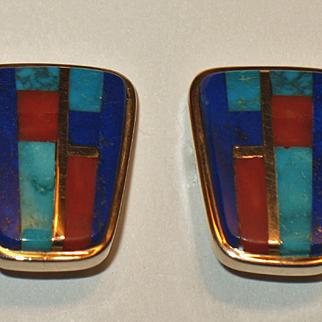 Charles Loloma Hopi 14K Yellow Gold Inlay Earrings