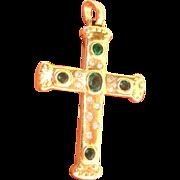 Stunning 2.22ct Diamond & Emerald 14K Y Gold Cross Pendant Fine Jewelry