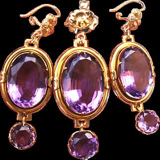 Vintage Set Of 40Ct Amethyst & 14k Gold Dangling Earrings & Pendant Fine Jewelry
