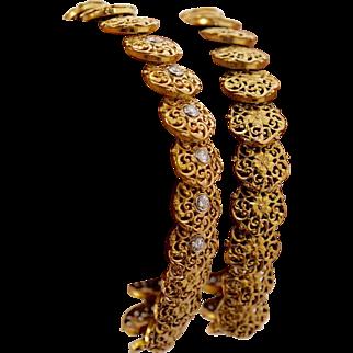 Victorian Pair of solid 18k Gold & Diamond Bracelet Fine Antique Jewelry