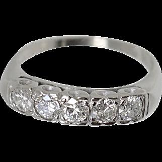 Vintage .60ct VS/SI Diamond 14k W Gold Lady's Wedding Anniversary Band ring Fine