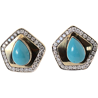 Vintage 14k Gold 3ct VS/G Natural Diamonds 20ct Turquoise Earrings Bold Elegance