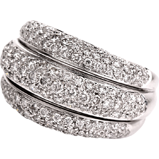 2.75ct Diamond Cluster 18k white Gold Band Ring Fine Jewelry