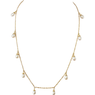 "Delicate 14k Gold Necklace with 11 Drop Shape Culture Pearls 16.1"" Fine Jewelry"