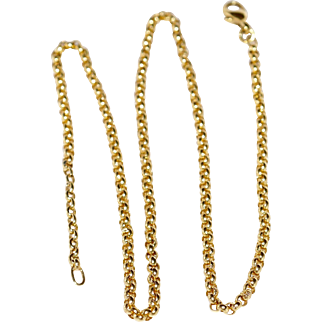 """18k solid Gold Round Link Chain Necklace 1/3 Oz 18.4"""" Fine Jewelry"""