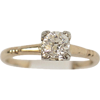 Antique .54ct VS1/H Old European Cut Solitaire Diamond 14k, 18k Gold Ring