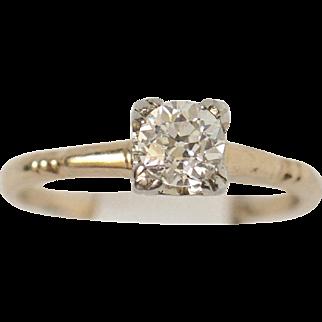 Antique .54ct VS1/H Old European Cut Solitaire Diamond 14k, 18k Gold Ring