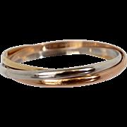 "Estate Cartier Trinity Three Color Bangle Bracelet Sz 17 for 6.5"" Wrist Fine Jew"