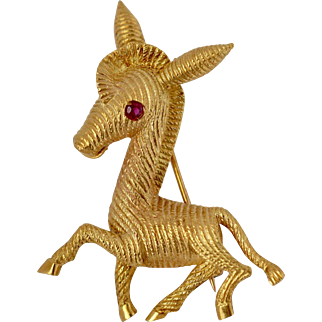 Tiffany&co Vintage 18k solid Gold Ruby Zebra Motif Brooch 1950's Fine JewelryTiffany