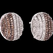 1.60 Fancy Brown & White Diamond14K white Gold Earrings 12.1 Gr Fine Jewelry