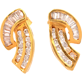 .71ct Natural Baguette & Round Diamonds Cluster 18k Gold earrings Fine Jewelry