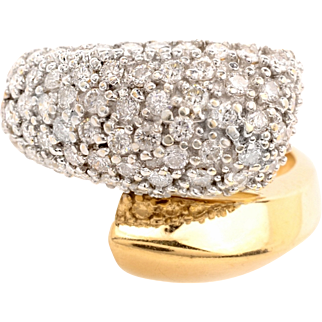 Vintage 1.5ct Diamond 14k 2Tone Solid Gold Bypass Ring Fine Jewelry