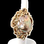 Vintage 14k Gold Baroque Golden Fresh Water Pearl Jumbo Ring fine Jewelry
