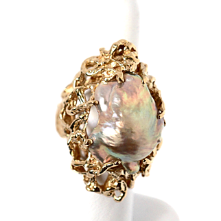 Vintage 14k Gold Baroque Golden Fresh Water Pearl Jumbo Ring fine Jewelry