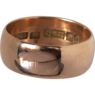 Vintage heavy 9k rose gold cigar band Fine Jewelry