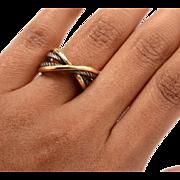 David Yurman 18K Yellow Gold Silver Crossover Band Ring 8.5 Grams NR