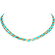 David Yurman Retired 18k Y Gold and Turquoise Bead Double Strand Necklace Fine J