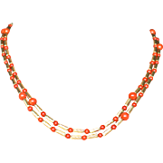 David Yurman 18k Gold Red Coral Double strand Necklace Fine Jewelry