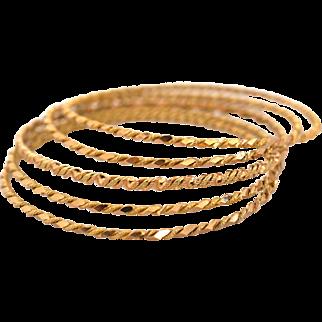 Vintage 18k Solid 2tone Gold Set of 5 Handmade Bangles Bracelets Fine Jewelry