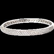 Gorgeous Solid 18k W Gold 2.5ct Diamond Bangle Hinged Bracelet Fine Jewelry