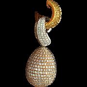 Modern 18k Solid Tricolor Gold 12ct VS/SI Diamonds Dangle Earrings Fine Jewelry