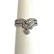 18ct White Gold 1.01ct SI/G Diamond Cluster Chevron Band Ring Fine Jewelry