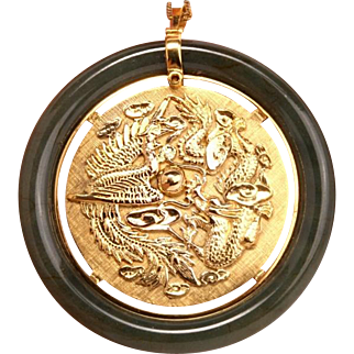 Vintage Solid 9K Gold Jade Large Dragon Phoenix Lucky Pendant Brooch Fine Jewelr