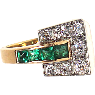 Art Deco 14k Gold Platinum 1.70ct VS/G Diamonds & Emeralds Ring Fine Jewelry