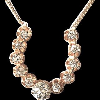 14k Solid Gold 1.20cttw Natural Old European Cut Diamonds Horse Shoe Necklace
