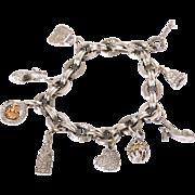 14K W Gold 3.10ct SI/H Pave Diamond Italian Charm Bracelet Fine Jewelry