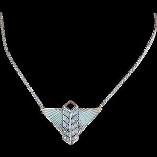 Sheena's Art Deco 14k W Gold 1.32ct VS/G Diamond & Onyx Necklace Fine Jewelry