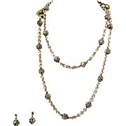 "Vintage Lois Hill Sterling Silver 38"" Long Filigree Ball Necklace & Earrings"