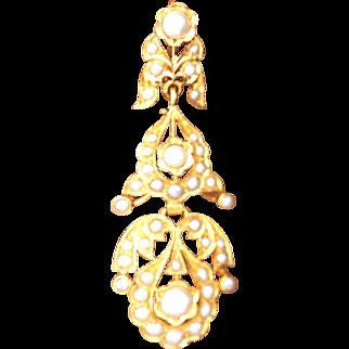 Vintage 18k Solid Gold Pearl Dangling Chandelier Earrings Fine Jewelry