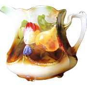 RS PRUSSIA PORCELAIN LEMONADE PITCHER FOOTED BEADED SCALLOPS FRUIT PATTERN RARE!